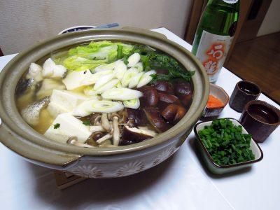 愛媛の地酒、石鎚で鱈ちり鍋をいただく