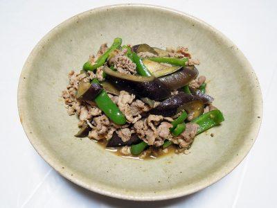 泡盛と黒糖で沖縄風に味つけした豚肉とナスの味噌炒め