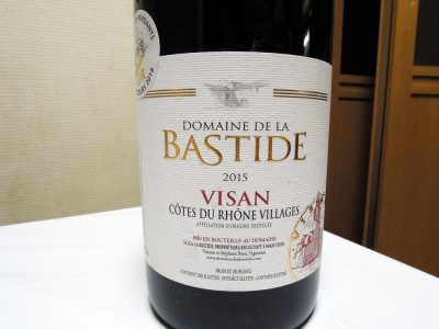 ほまれや酒舗で購入したドメーヌ・ドゥ・ラ・バスティード-コート・デュ・ローヌ・ヴィラージュ-ヴィザンのラベル