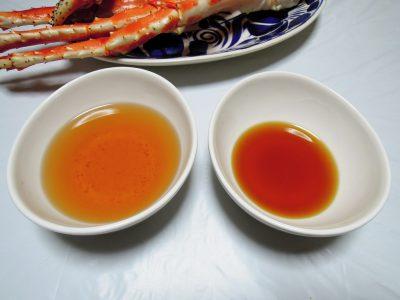 土佐酢(左)とはちみつを使ったカニ酢たれ(右)