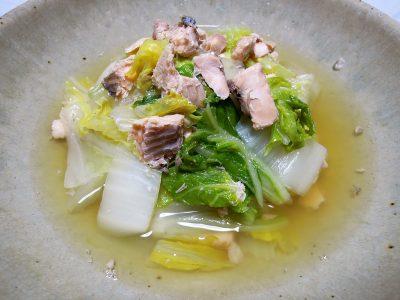 白菜と鮭の煮びたし