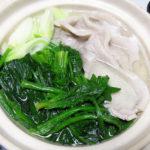 滋賀の地酒、松の司 生酛純米酒で白菜とちくわの煮びたし、ごぼうと豚肉のごまみそ炒め、豚肉とほうれん草の水炊きなどをいただく