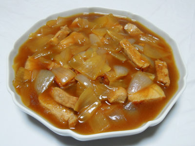 玉ねぎと豚肉の煮もの(中華)