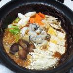 奈良の地酒、睡龍 生酛純米 H19BYの熱燗でさんまのオイル漬け、さばのみそ煮、かきの土手鍋をいただく