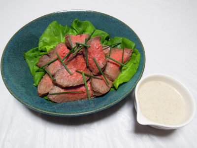牛肉のカルパッチョ風ごまクリームソース