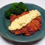 香川の地酒、悦凱陣 山廃純米 無濾過生 花巻亀の尾の燗でチキン南蛮やチキンソテー トマトソースをいただく