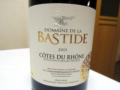 ほまれや酒舗で購入した「ドメーヌ・ドゥ・ラ・バスティード コート・デュ・ローヌ・ヴィラージュ」のラベル
