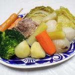 愛知の地酒、長珍 純吟 八反錦50 無濾過生酒 H29BYの熱燗で豚肩肉やソーセージ、野菜などを茹で上げたポトフをいただく