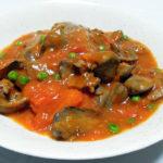 イタリア(カンパーニャ)ワイン、ヴィノジア プリミティーヴォ オルスで鶏のカレー揚げや鶏レバーとトマトの炒めものをいただく