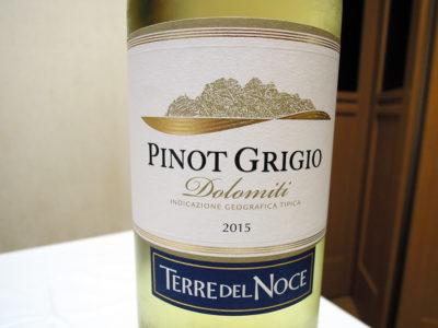 ほまれや酒舗で購入した「テッレ・デル・ノーチェ ピノ・グリージョ 2015」のラベル