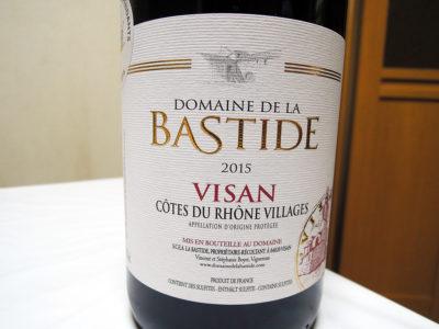 ほまれや酒舗で購入した「ドメーヌ・ド・ラ・バスティード コート・デュ・ローヌ・ヴィラージュ ヴィザン 2015」のラベル