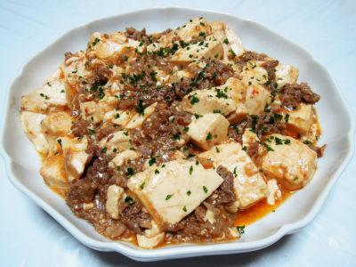 牛肉の薄切り肉を使った麻婆豆腐