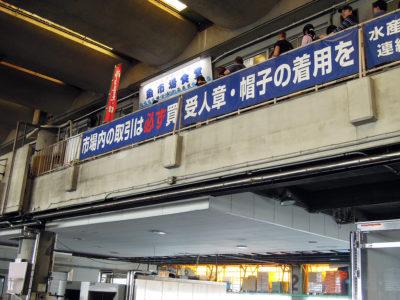 下から見上げた魚市場食堂