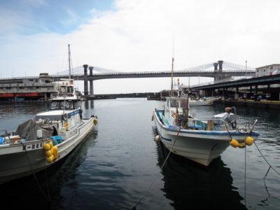 漁港と小田原ブルーウェイブリッジ