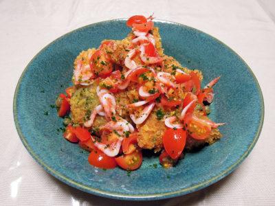 あじフライ 桜海老とフレッシュトマトのソース