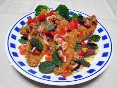 あじフライ 桜海老とフレッシュトマトのソース、ミント風味