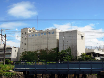 ポートサイド公園から横浜中央卸売市場本場を眺める