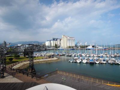 ドリームプラザからヨットハーバーや清水港テルファーの眺め