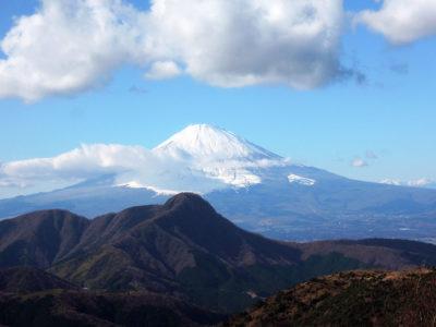 明神ヶ岳山頂から富士山と金時山