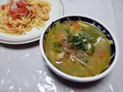 いとよりだいのあらを使ったスープ