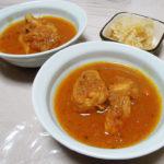 香川の地酒、悦凱陣 山廃純米 無濾過生 讃州雄町の熱燗で骨付き鶏もも肉のスパイスカレーやじゃがいもとグリンピースのサブジをいただく