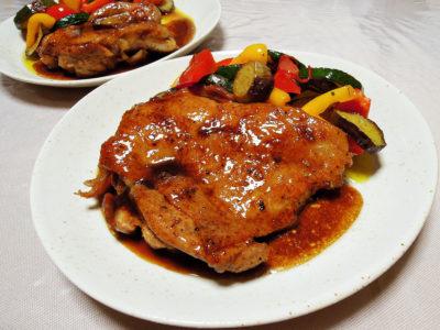 鶏もも肉のイタリアン風照り焼き 夏野菜のマリネ添え