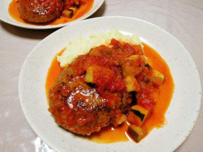 トマトソースのハンバーグ