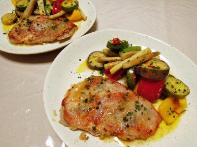 豚ロースのサルティンボッカと夏野菜のマリネ