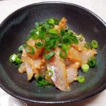 鳥取の地酒、冨玲 特別純米 阿波山田錦 H21BYの燗であいなめの刺身と湯引き、ほうぼうのりゅうきゅう(だし麹和え)とから揚げをいただく