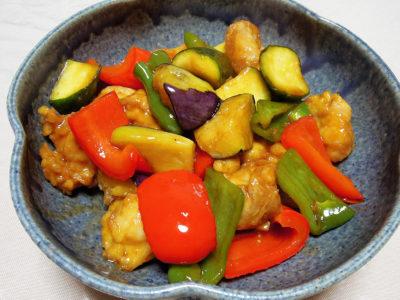 鶏もも肉と夏野菜の黒酢あんかけ