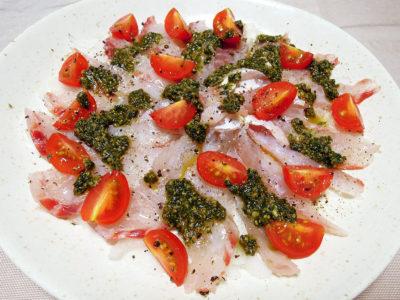 キビレ鯛のカルパッチョ ジェノベーゼソース