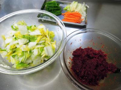 白菜とその他の野菜、ヤンニョム(合わせ調味料)