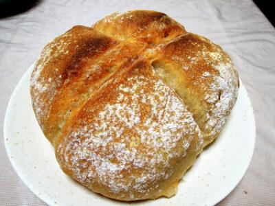 レーズン酵母の中種を使って焼いたカンパーニュ風のパン