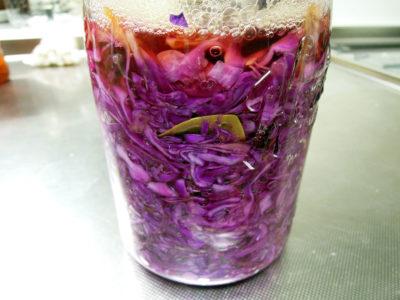 紫キャベツのザワークラウト、キャラウェイ風味、仕込んで4日目
