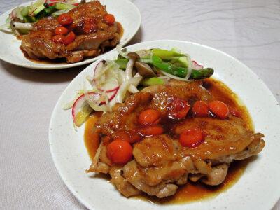 鶏もも肉のイタリアン風照り焼きと彩野菜のマリネ