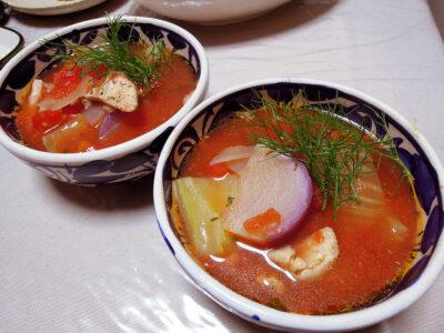 鶏むね肉とフェンネルのトマトスープ