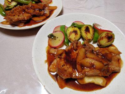 豚ロースのイタリアン風りんご入り照り焼きと野菜のマリネ