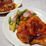 奈良の地酒、睡龍 純米 H26BYの熱燗でハリッサとヨーグルトに漬けた鶏もも肉のソテーや自家製フェンネル酵母でつくったジェノベーゼカンパーニュをいただく