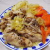 京都の地酒、玉川 純米にごり(山廃)2018BYの熱燗で自家製ザワークラウトと骨付き鶏もも肉(地養鶏)のオイル蒸しをいただく+発芽玄米酵母のカンパーニュのランチ