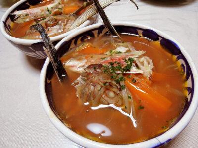 ほうぼうのあらを使ったスープ