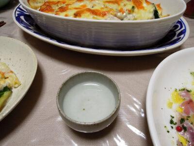 隆の常温でいとよりのカルパッチョ、グタラン、あらのスープをいただく