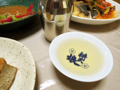 竹泉 幸の鳥の熱燗で大根と厚揚げの煮もの、めじなのセビーチェやから揚げ 甘酢あんかけをいただく
